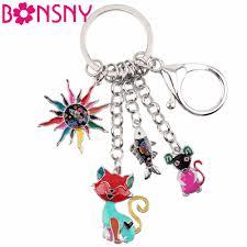 Bonsny <b>Enamel Alloy</b> Child's Fairy Tale Sun Cat Fish <b>Mouse</b> Key ...