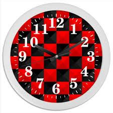 Часы круглые из пластика <b>Красная</b> и Чёрная <b>клетка</b> #1517715 от ...