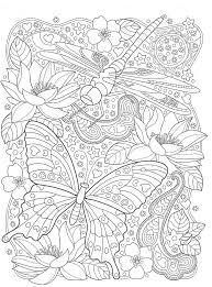 <b>Раскраски</b> «Животные» - «Бабочка и <b>стрекоза с</b> цветами ...