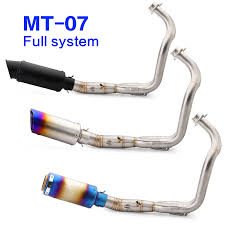 MT07 FZ07 <b>Full System Motorcycle Exhaust</b> Muffler Header Pipe ...
