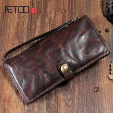 <b>AETOO Original retro</b> buckle leather long wallet <b>first</b> layer cowhide ...