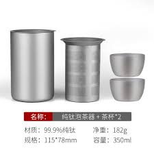 Pure <b>Titanium Double Layer</b> Tea Cup <b>Outdoor</b> Travel Set <b>Portable</b> ...