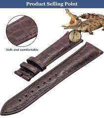 <b>ZLIMSN Double</b> Sided <b>Alligator Crocodile</b> Leather Watch Strap ...