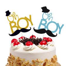 <b>20pcs Oh Boy Little</b> Man Cake Toppers Flags Kids Birthday ...