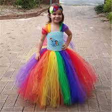 Online Shop Rainbow <b>Princess Girl Tutu Dress</b> Kids Cosplay Outfits ...
