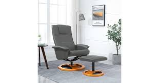 Swivel <b>TV Armchair with</b> Foot Stool Grey Faux Leather - Kogan.com