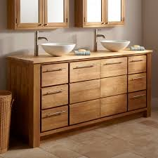 enchanting brown teak wooden unpolished bathroom furniture vanity cabinets ideas equipped fascinating white natural double washbowl brown bathroom furniture
