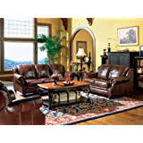 ^#3pc Princeton Tri-Tone <b>Burgundy</b> Leather Sofa Loveseat ...