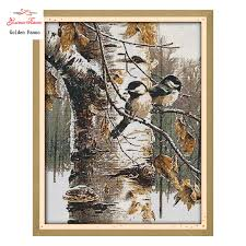 <b>Golden Panno</b>,<b>Cross Stitch</b> Autumn Birds Pattern 11CT 14CT DIY ...