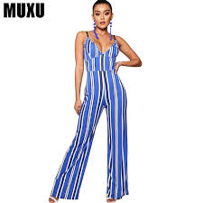 2019 <b>MUXU Sexy V Neck</b> Woman Summer Striped Jumpsuit ...