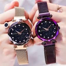<b>Luxury Starry Sky Watch</b> Magnetic Band Women Quartz Wristwatch ...
