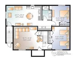Multi family plan W  V detail from DrummondHousePlans comBasement bedroom house plan   basement apartment  apartment   one bedroom and open floor