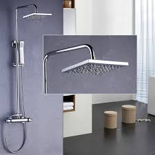 thermostatic brand bathroom: thermostatic shower mixer twin head faucet tap large set bathroom chrome brass ebay