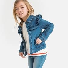 <b>Куртка джинсовая</b> с воланом, 3-12 лет синий потертый <b>La</b> ...