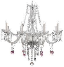 "8-Light <b>Pink Heart Crystal</b> Chandelier, 28""x28"" - Traditional ..."