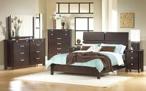 brown and blue bedroom with espresso furniture blue walls brown furniture