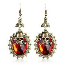 Women <b>Gothic Halloween</b> Skull <b>Faux Crystal</b> Hook Drop Earrings ...