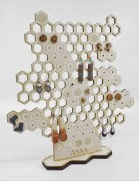 <b>Honeycomb</b> Earring <b>Stand</b>, Earring <b>Holder</b> and <b>Display</b>, Laser Cut ...