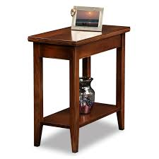 rectangle brown polished mahogany wood side table with shelf and flared legs plus apron as well captivating side table