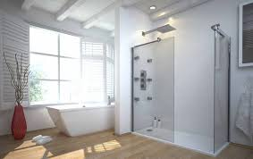 bathroom shower tile design color combinations: minimalist white bathroom with accent red vase wood laminate flooring a standalone acrylic bathtub and shower