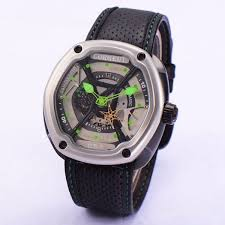 <b>Corgeut 46mm</b> Black PVD Case Gray Dial Green Hands Leather ...