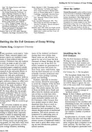battling the six evil geniuses of essay writing ps political battling the six evil geniuses of essay writing