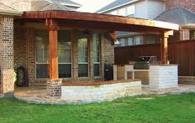 patio roof styles  x cedar patio cover complete with  brick accent on post base