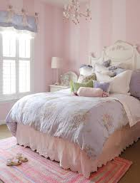 room elegant wallpaper bedroom: elegant little girls bedroom ideas with pink white stripes wallpaper and white crown chic bed frame