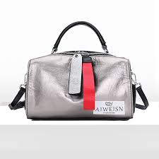 None 2018 Silver <b>High Grade Cowhide</b> Leather Boston Bag Burst ...