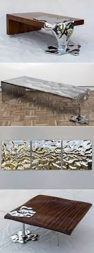 artist rado kirov manipulates stainless steel to resemble dripping mercury in furniture collection calabria stainless steel