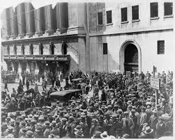 the great depression the american yawp crowd of people gather outside the new york stock exchange following the crash of 1929