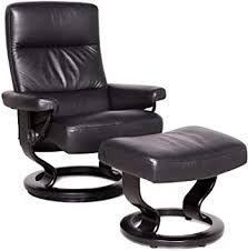 Stressless Atlantic M Designer Leather <b>Armchair</b> with Stool <b>Black</b> ...