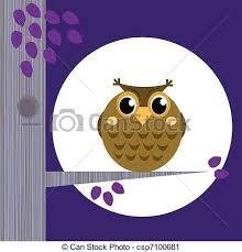 Cute halloween <b>owl</b> on <b>tree</b> branch with full <b>moon</b> behind ...