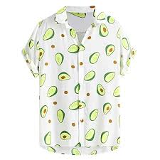 Buy <b>Mens Summer</b> Blouses Classic Button Funny Avocado <b>Print</b> ...