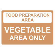 food preparation area vegetable area colour coded food safety signs food preparation area vegetable area only colour coded sign