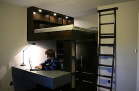 small bedroom design idea with a loft bed and work space below bedroom loft bed desk combo