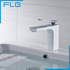 bathroom countertop basins wholesale: high quality fashion design bathroom countertop basin mixer faucet brass material chrome white water tap