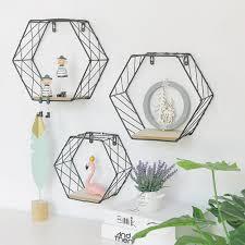 <b>Nordic</b> Style Iron Hexagonal <b>Grid</b> Wall Shelf Combination Wall ...