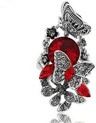 Ajojewel Red Crystal Rhinestone Flower and Butterfly ... - Amazon.com