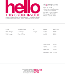 contoh desain invoice faktur tagihan invoice template designs very basic invoice design corporate and bland layout bold pink helvetica is a primary focal point key words hello and thank you polite text