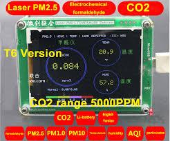 T6 M5S CO2 <b>Sensor</b> Formaldehyde <b>PM2</b>.5 PM1.0 PM10 <b>detector</b> ...