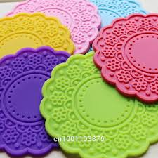 6pcs <b>round silicone</b> cup <b>coaster</b> mat openwork solid creative ...
