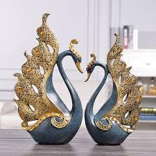 <b>2Pcs</b>/<b>set Creative</b> Resin Diamond Couple <b>Swan</b> Statue European ...