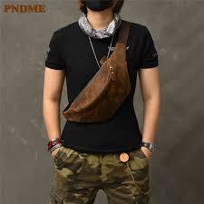 <b>PNDME vintage crazy</b> horse cowhide men's chest bag simple ...