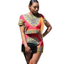 Sunward Women's <b>African</b> Print Dashiki <b>2 Pieces</b> Outfit Short Sleeve ...