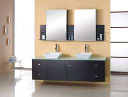 design basin bathroom sink vanities: double wall hung sink vanity in modern theme made of black maple combined with glass