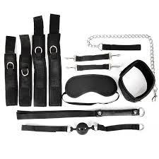 <b>Черный</b> текстильный набор БДСМ: наручники, оковы, <b>ошейник с</b> ...