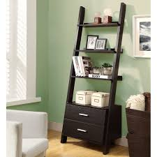 brown ladder bookshelf with drawer on wooden floor matched with grey wall for home decor ideas avenue greene grey ladder storage office wall