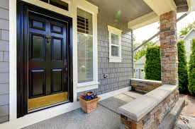 Decorating Delightful Black House Entrance Door With Silver Handle - Black window frames for new modern exterior