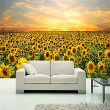 Beautiful <b>Sunflowers</b> Mural Wallpaper <b>Cafe Restaurant</b> Living Room ...